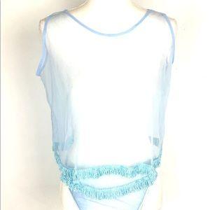 Vtg Lingerie Nightie Panties Blue Sheer Fringe
